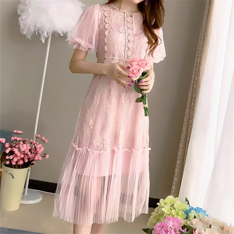 Korea Fashion Autumn Sexy Lace Women Dress Vintage Elegant Mesh Ladies Dress Casual Short Sleeve Party Vestidos mujer