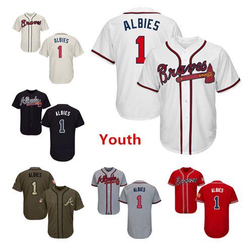 wholesale dealer 4ebf1 39331 Youth Kids Child Atlanta Braves Baseball Jerseys 1 Ozzie Albies Jersey  White Navy Blue Cream Red Gray Grey Green Salute