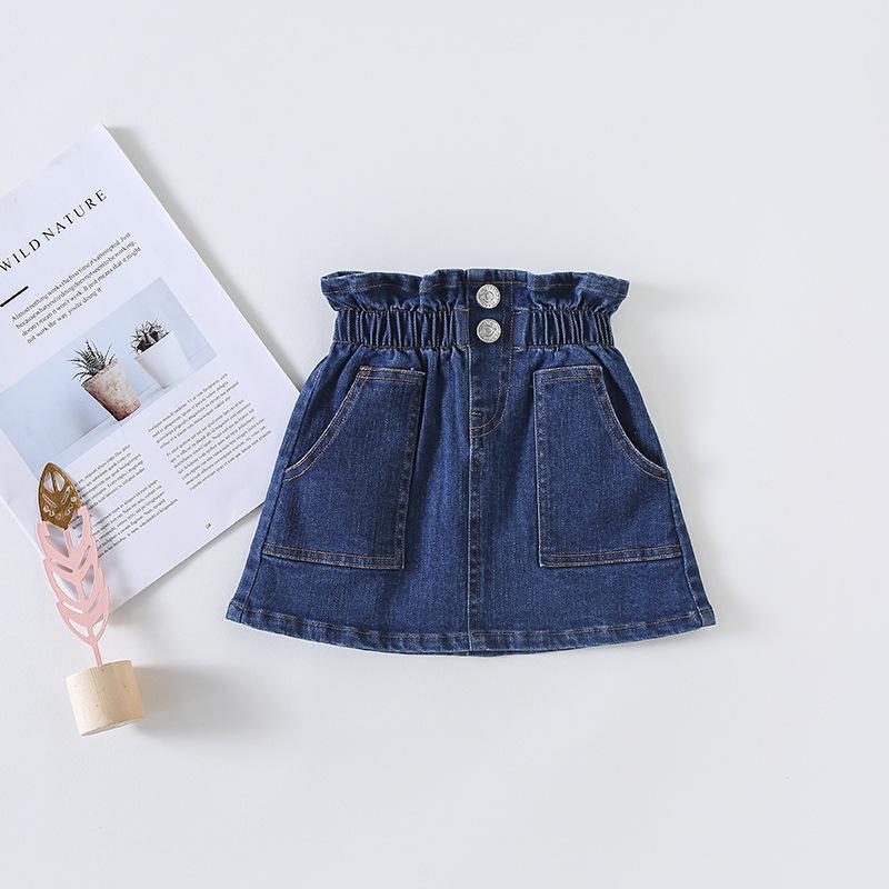 62e8df8be Primavera Niño Bebé Faldas Sólidas Falda Sólido Denim Ropa de Moda de Otoño  para Niñas Cintura Alta Jean Falda Chica Niños Ropa