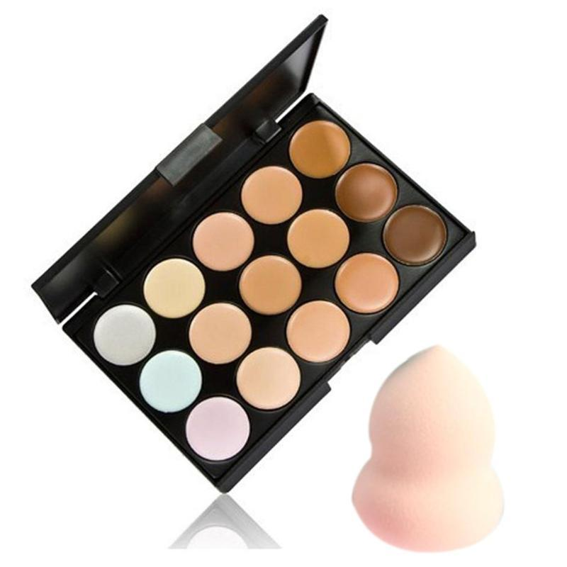 Contour Palette Face Cream Makeup Concealer Palette Sponge Cosmetic Puff Make Up Set Tool 15 Colors Hot Selling New Quality