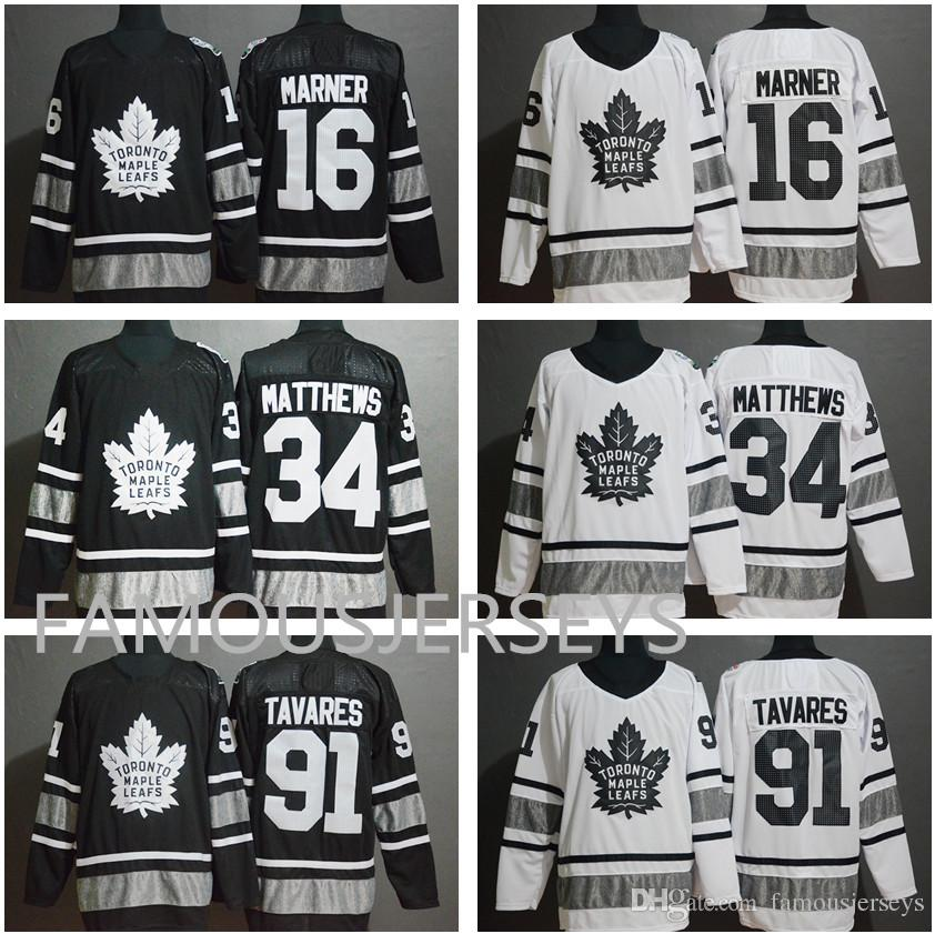 100% authentic ab055 441fa 2019 san jose all star Toronto Maple Leafs hockey jerseys #16 Mitchell  Marner 34 Auston Matthews 91 John Tavares black white jersey
