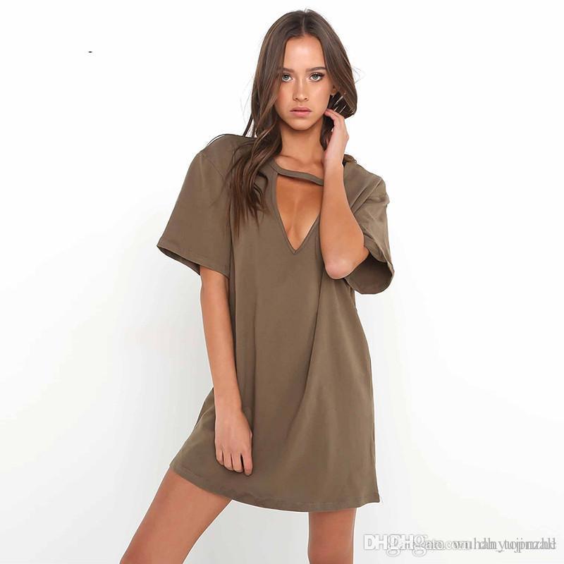 aae57e9637e9 Summer T Shirt Dress 2017 Women Deep V Neck Short Sleeve Sexy Party Dress  Casual T Shirt Solid Dress Vestidos CL355 Spring Dress Dress Fashion From  ...