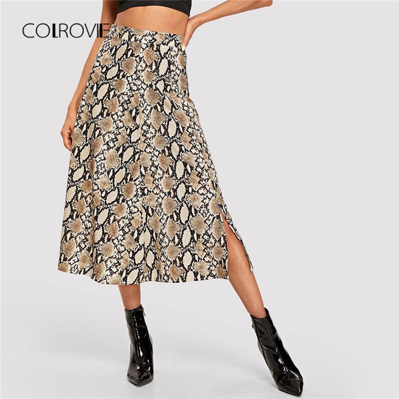 Faldas Animal Streetwear Snake Elegante Compre Invierno 23 Para Larga Print Otoño Colrovie Mujer Falda A Señoras Oficina 2018 De Vintage Del 31 Sexy wxxp54vq7