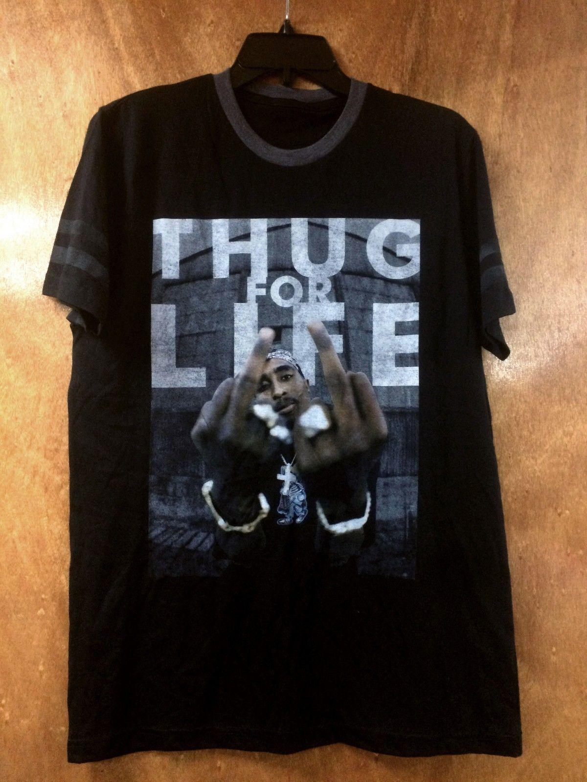 532571e6e68 NWT TUPAC SHAKUR 2pac BLACK TEE 2pac THUG FOR LIFE BLACK Graphic T Shirt Sz  S Men Women Unisex Fashion Tshirt T Shirt Slogan Daily T Shirts From ...