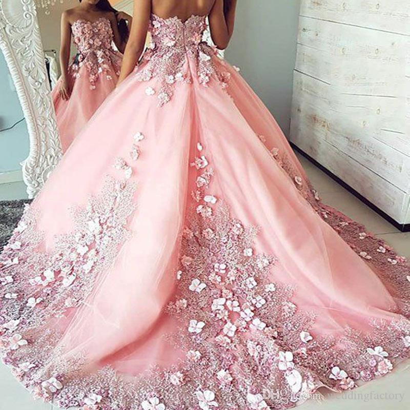 f1a63be9ae8 Gorgeous Blush Pink Prom Dresses Sweetheart Sleeveless 3d Floral Lace  Appliques Handmade Flowers Evening Party Gowns With Sash Sweep Train Yellow Prom  Dress ...