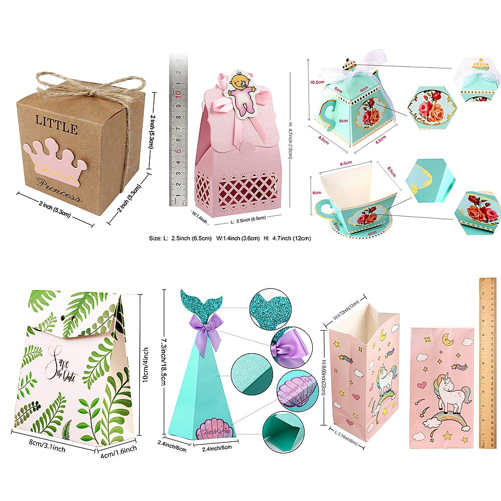 Ourwarm Paper Candy Gift Box Bags Dessert Fruit Pouch Bags Gift for Guests Wedding Favor Baby Shower Birthday Party Decoration