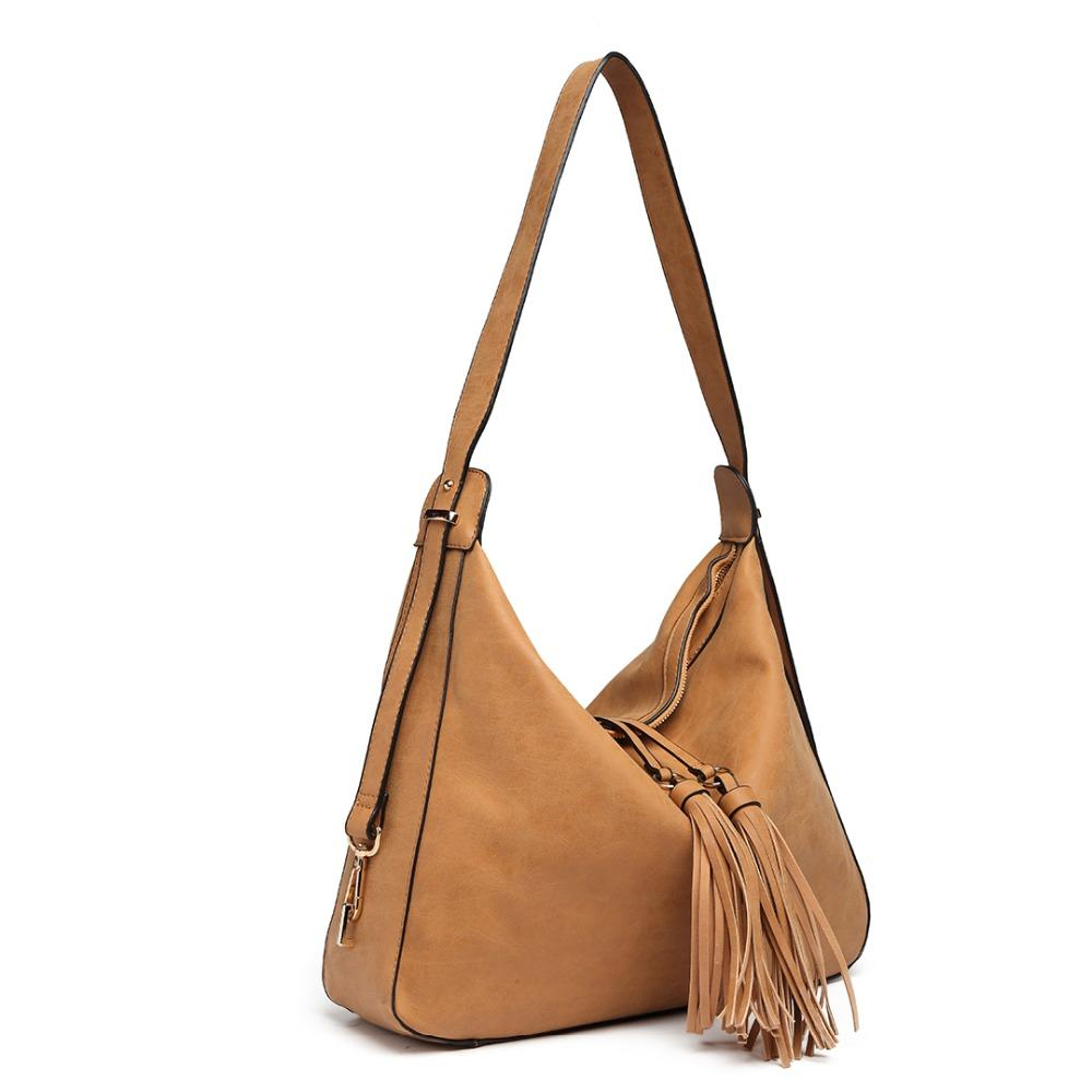 8288ffeaf5c2 Miss Lulu Women Tassel Handbags Hobo Shoulder Bags Ladies Fashion Top  Handle Bag Brown Soft Synthetic Leather Totes LT6854 Handbag Wholesale Hobo  Purses ...