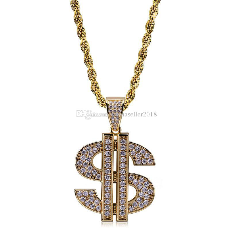 Hip Hop US Dollar Pendant Necklace For Men Bling Cubic Zirconia Hiphop Jewelry Gold Plated Necklace