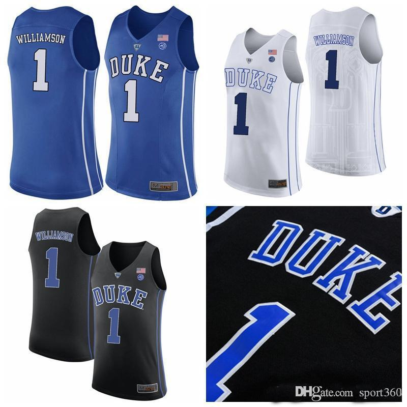 07185ff122c2 2019 NCAA Men S Duke Blue Devils  1 Zion Williamson Kyrie Irving Blue White Black  Williamson College Stitched Basketball Jerseys Size S XXXL From Sport360