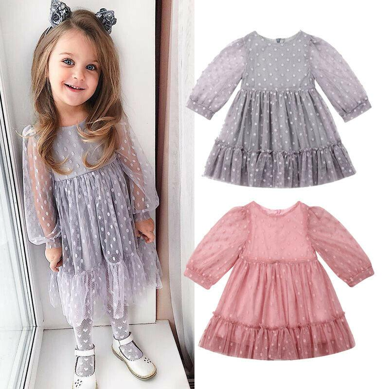 6ff359b53 2019 1 7T Princess Dress For Girls Summer Kids Clothes Baptism Party Wedding  Outfit Toddler Dot Tulle Tutu Dresses Children Clothing From Vanilla14, ...