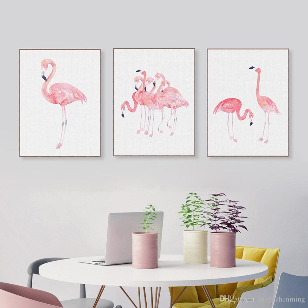 Satın Al Modern Suluboya Hayvan Pembe Flamingo Poster Baskı Duvar