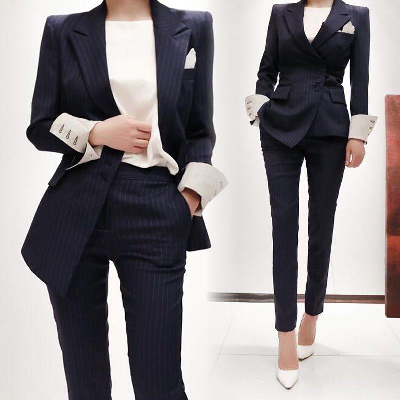 c3c9fab18d Compre Trajes Formales Para Mujer Trajes De Pantalón De Trabajo Conjuntos  De 2 Piezas Blazer A Rayas Chaqueta Con Cremallera Pantalón De Señora De  Oficina ...
