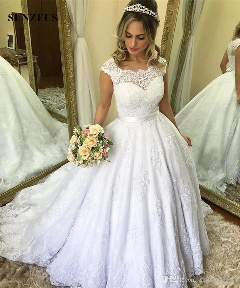 compre vestidos de novia de encaje a line apliques cap manga larga