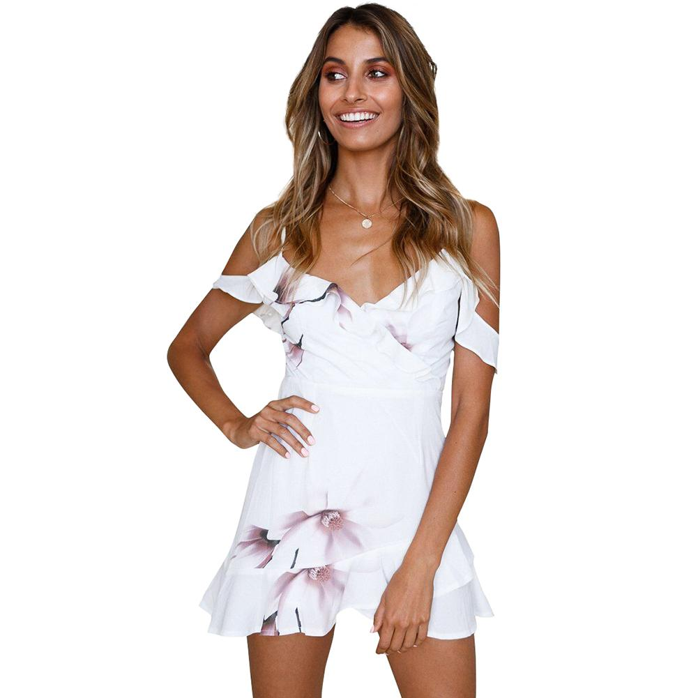 ae19f820628 Sexy Women Spaghetti Print Dress Cold Shoulder Frills V Neck Backless  Zipper Summer Party Mini Dress White Short Beach Dress Casual Long White  Summer ...