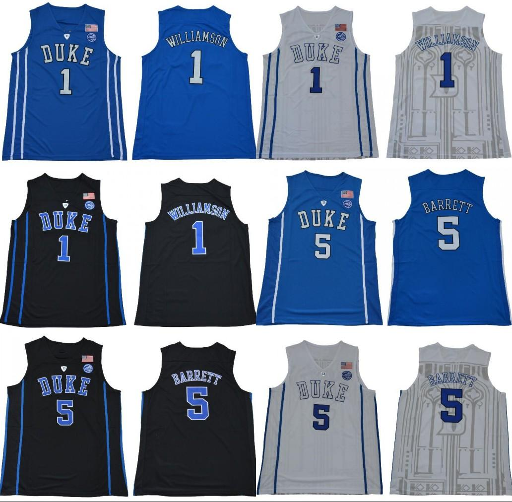 84586db6ec4d 2019 Basketball College Jersey 5 RJ Barrett 1 Zion Williamson Duke Blue  Devils ACC Jersey Black White Blue Men College Basketball Stitched Jersey  From ...