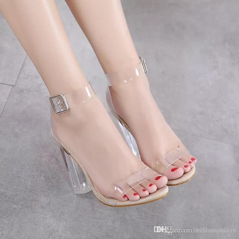 2fe54b95d0fb8 Women'S Lucite Clear Dress Sandal Strappy Block Chunky Clear PVC ...