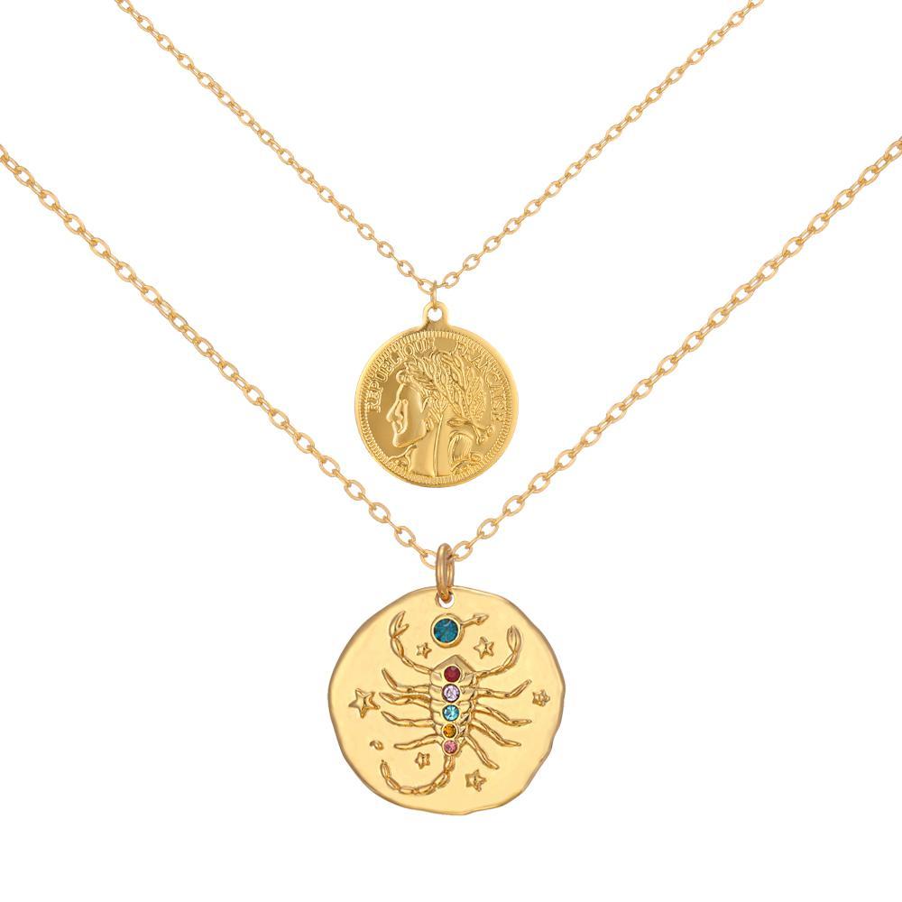 07e3017c87f8 Compre Wonder Queen Elizabeth Coin Y Scorpio Constellation Zodiac Colgante  Collar Celestial Joyería A  35.52 Del Yanzhoucheng