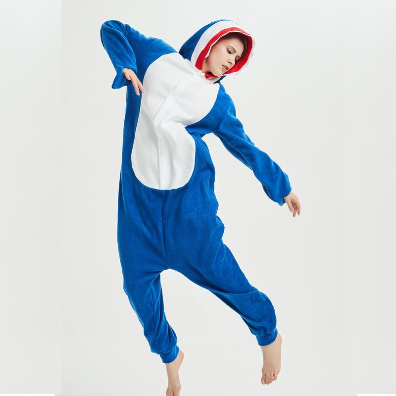 53dfb6a4dc 2019 Soft Fleece Shark Adult Onesie Kigurumi For Adult Animal Pajamas Party  Navy Bodysuit Cosplay Unisex Sleepwear Halloween Pyjamas From Home5