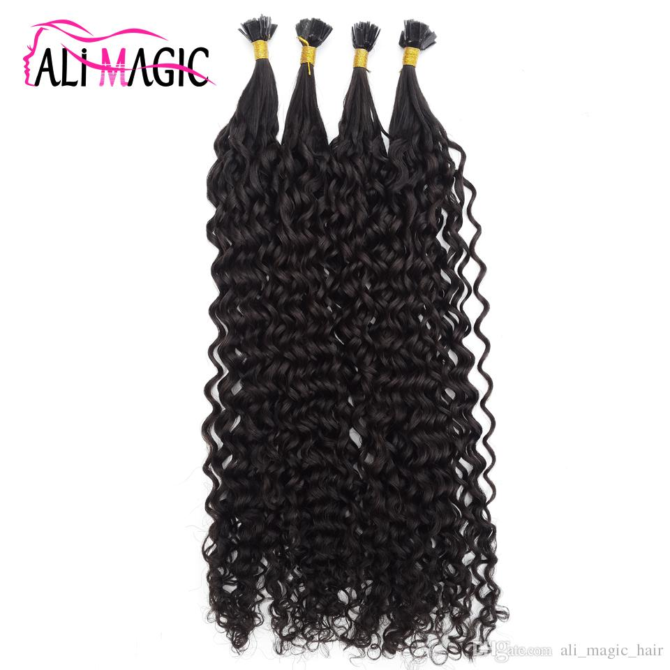 Pre Bond Fusion Hair Extension Keratin Tip Curly Hair Extension 100% Remy Human Hair 12-24inch Factory Outlet Cheap