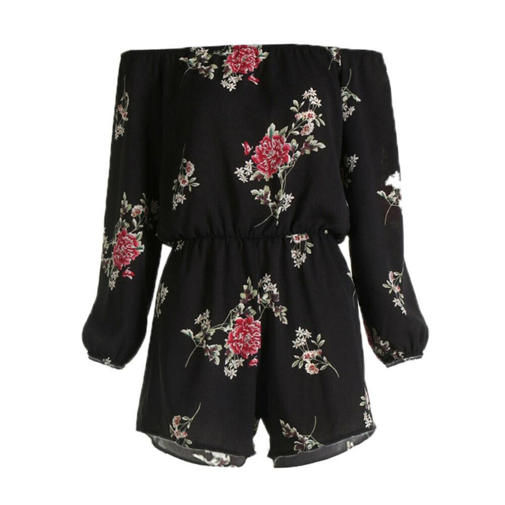 df02f33f669 Daily Belt Sexy Fashion Clubwear Soft Rompers Backless Party Women Jumpsuit  Floral Print Long Sleeve Off Shoulder Summer UK 2019 From Biaiju