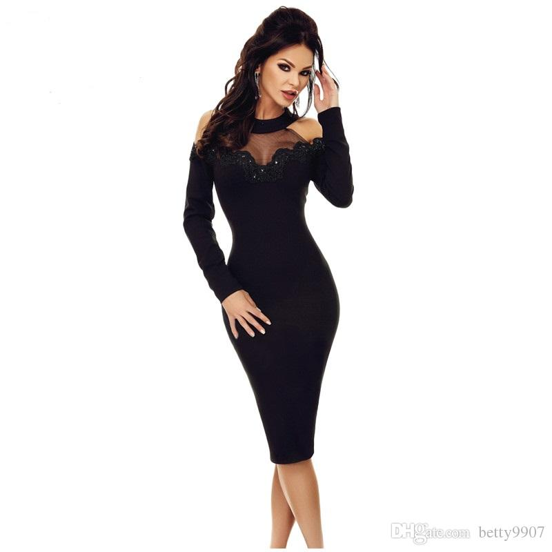 ab5e7c7916c Women Designer Bodycon Dresses Sexy Party 2019 Elegant Black Crochet  Applique Mesh Insert Hollow Out Long Sleeve Cold Shoulder Midi Dress  Cocktail Dresses ...