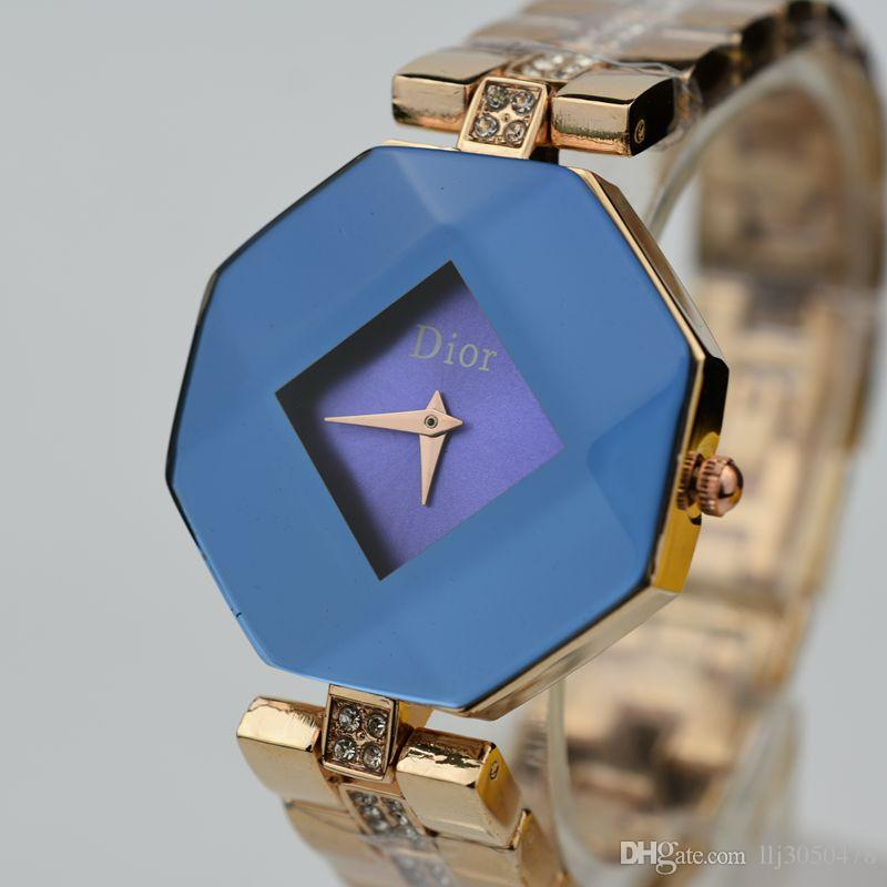 c4e82037605 Women S Watch Gemstone Cut Geometric Crystal Gold Quartz Strap Fashion  Dress Watch Lady Gift Clock Relogio Feminino Vintage Watches Automatic  Watch From ...