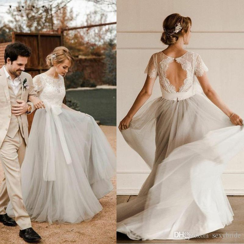 0d13583cb8 Pretty A Line Country Wedding Dresses New 2019 Rustic Style Sexy Keyhole  Top Ivory Lace Cheap Silver Tulle Bohemian Beach Boho Bridal Gowns