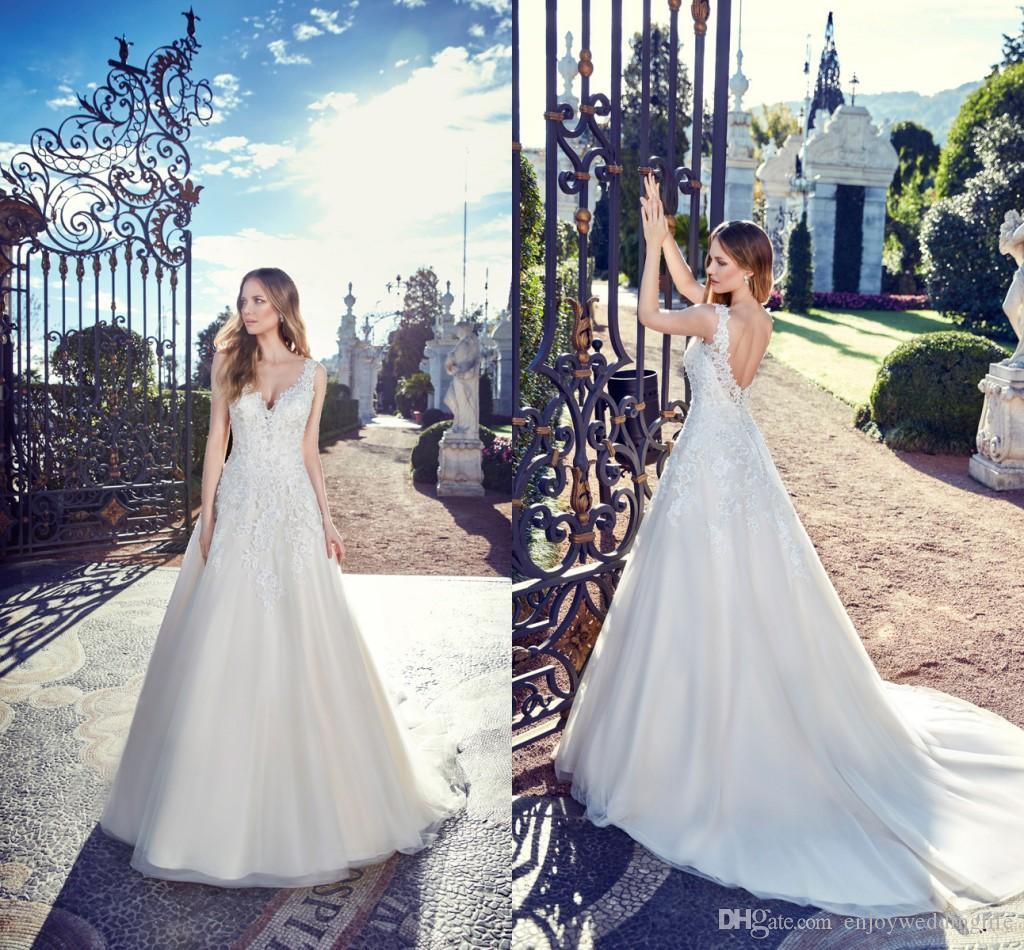 2a0b28e18 Vestidos De Noiva Romantico Marfim Elegante Vestidos De Casamento Rendas  Decote Em V Sexy Backless Lace Appliqued Vestidos De Noiva Verão Praia De  Tule ...