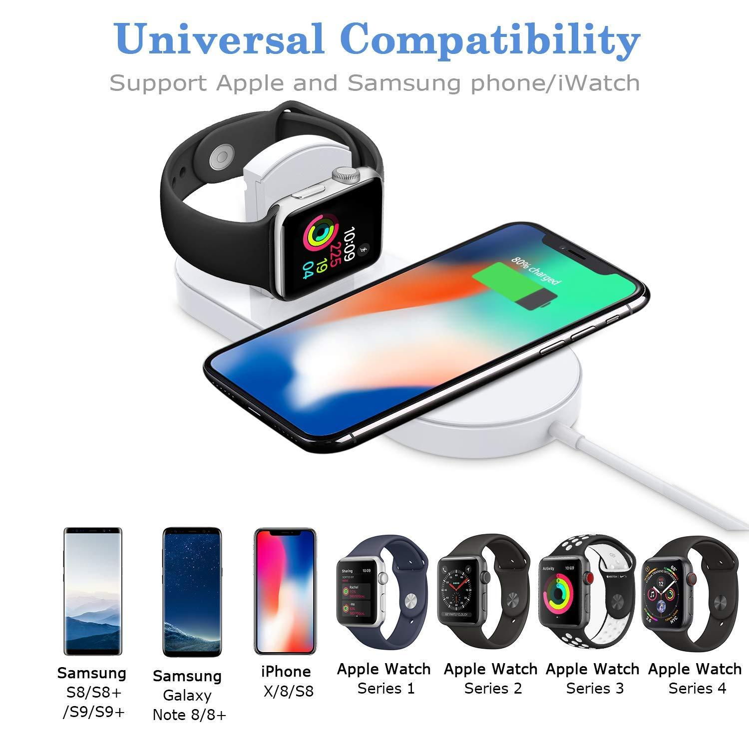 100% authentic 3ad04 e692a Wireless Charger, 2-in-1 Pad Stand Cable Compatible with Apple Watch,for  iPhone X/8/8 Plus,Compatible with iWatch Series 1/2/3