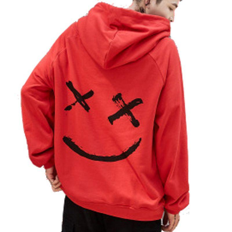 6e52fc9dc14f0 2019 Oioninos 2019 New Men Red Gray Hoodies Sweatshirts Smile Print  Headwear Hoodie Hip Hop Streetwear Clothing Us Size Plus Size 3XL From  Cety