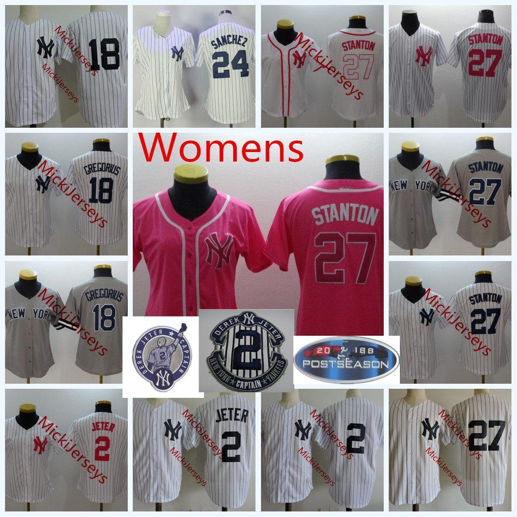 new arrival 9452d a2412 Womens 2 Derek Jeter Cool Base baseball Jerseys Lady 27 Giancarlo Stanton  Stitched 18 Didi Gregorius 24 Gary Sanchez Jersey S-2XL