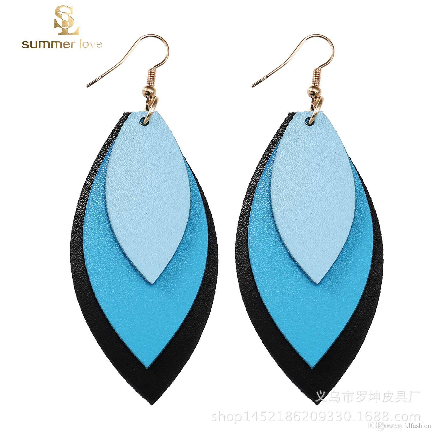 2019 Three Layer Leaf Pu Leather Dnagle Earring For Women Unique Design  Colorful Hook Drop Earrings Fahsion Jewelry Gift From Klfashion dd6de6d82eb4