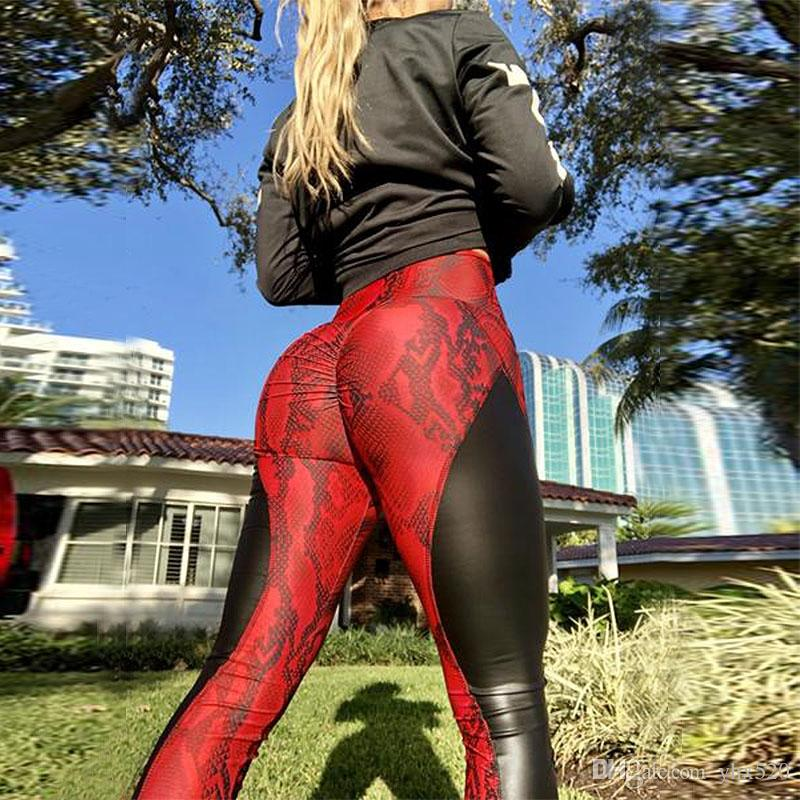 751599df6060c 2019 2019 Sport Yoga Pants PU Leather Stitched Snakeskin Print Fitness  Leggings Sexy Splice Women Booty Leggin Skinny Dry Quick Pants #859726 From  Yhx520, ...