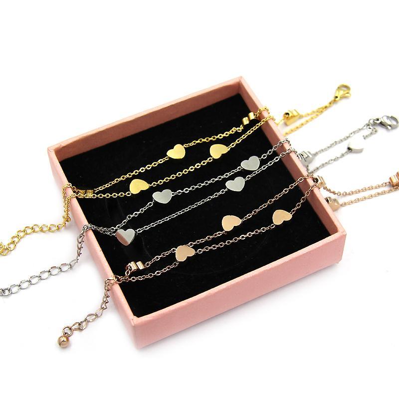 YUKAM Chanceux En Acier Inoxydable Petit Amour Coeur Charme Bracelets Double Couche Chaîne Lien Bracelets Bracelet Pour Femmes Argent Rose Or