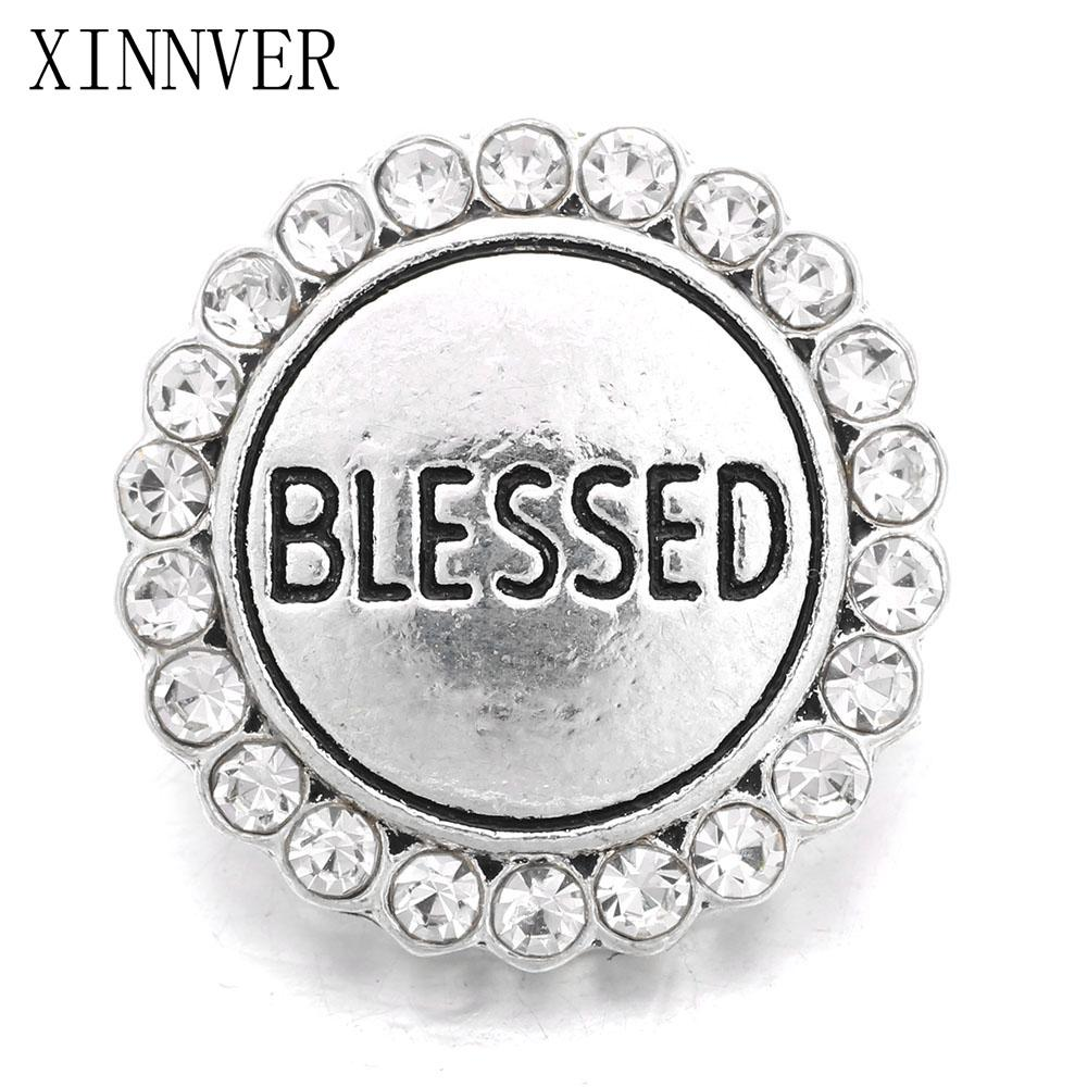 Xinnver Snap Jewelry Metal 18MM Snap Buttons Bracelet Blessed Design Alloy Snap fit Charm Bracelets For Women ZA664