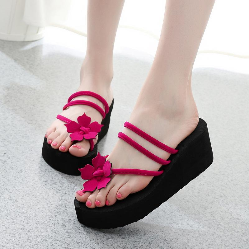 Summer Women Flip Flops Slippers High Heel Platform Wedge Thick Beach Casual Thong Sandals Shoes WF 668