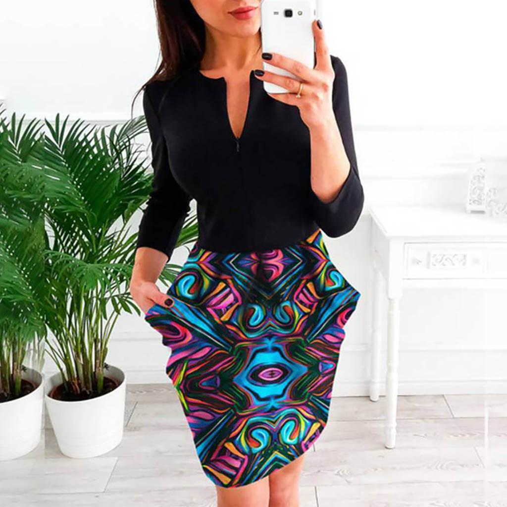 4ffca29f24789 2019 New Spring Fashion Sexy Women V-Neck Floral Workwear Office Party  Dress Long Sleeve Mini Dress Ladies Dresses For Female
