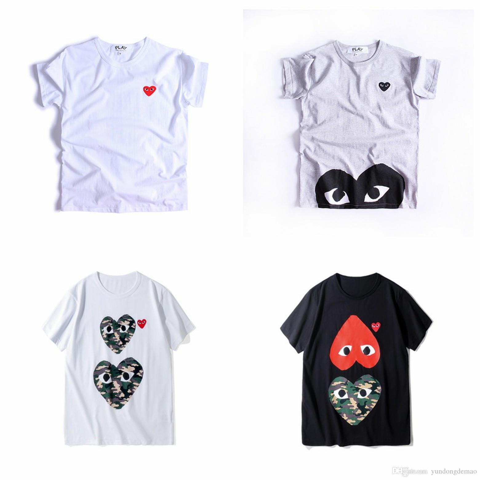 Lover COM Best Quality Men Women CommeS Black New play 1 CDG Embroidered Double Heart short Sleeve T-shirts Embroidery Red Heart Tee