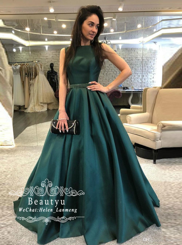 online store 83199 cd49d Satin Acquista 2019 Abiti Da Sera Verde Elegante Scuro A ...