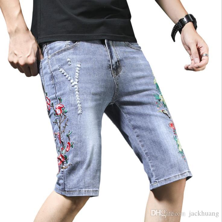 a4aa0f9b8e 2019 Vintage Floral Embroidered Shorts Men Red Crowned Crane Flower  Embroidery Shorts Ripped Denim Jeans Blue Summer Shorts For Man From  Jackhuang, ...