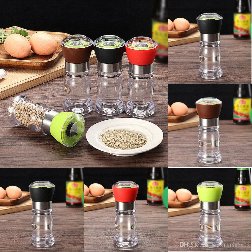New 1Pcs Pepper Salt Grinder Set 4 Colors Plastic Mill Brushed Stainless Steel Kitchen Glass Bottle Wholesale Hot