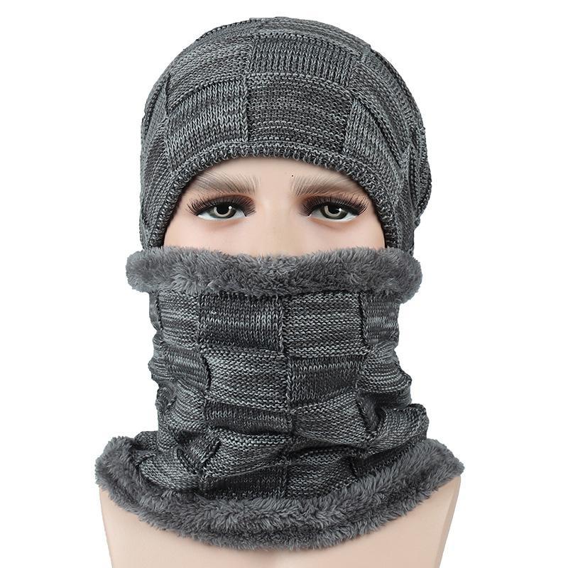 Compre Forro Polar Forrado Cálido Beanie Sombreros Hombres Mujeres Gorro De  Punto Sombrero De Invierno Conjunto De Bufanda Sombreros De Invierno De  Alta ... 20ff53b40a9