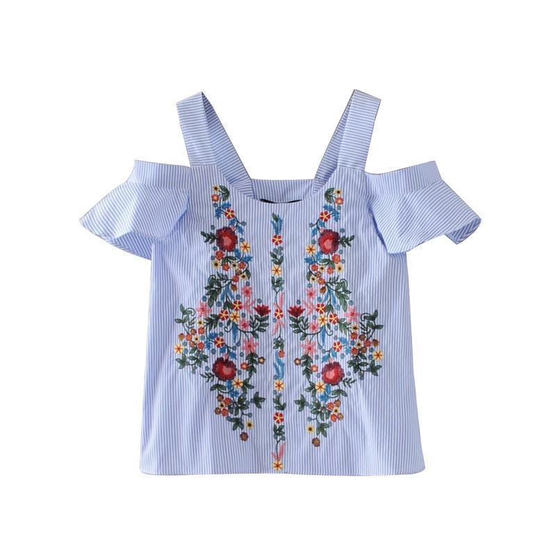 6b67aa89 2019 AOWOFS Off Shouder Floral Embroidery Striped Shirts Sweet Ruffles  Short Sleeve Blouse Ladies Casual Brand Tops Blusas From Jamie19, $58.47 |  DHgate.Com