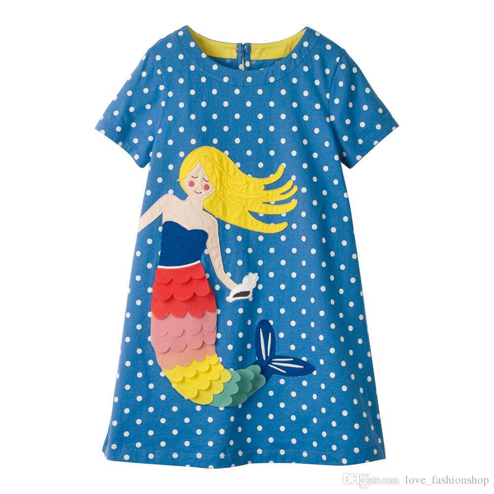 ca227f2ccc 2019 2019 New Girls Mermaid Applique Princess Dress Kids Summer Polka Dot  Printed A Line Cotton Cartoon Causal Dresses Children Design Clothing From  ...