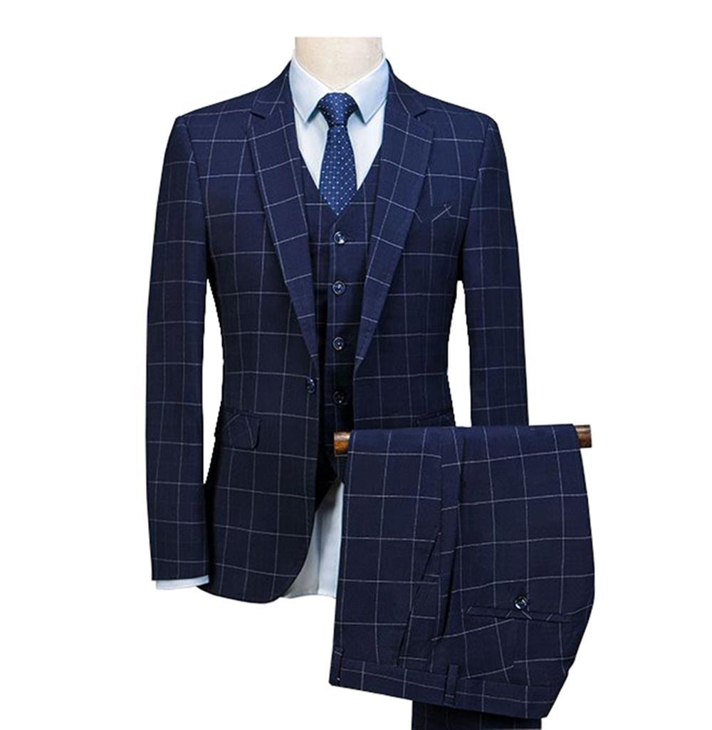 Fit Leveste 3 De Mariage Pièces Royal Slim Costumes Laine Bleu 2019 Smokés Pantalon Hommes Marié Carreaux Smux En Pour À thxodrCsBQ