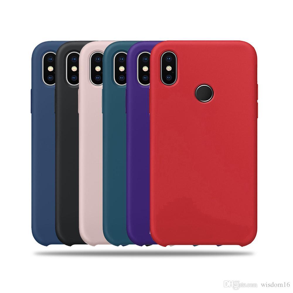 the best attitude 32bf8 489b5 For Xiaomi Mi8 8SE Mi 6X Mi A2 Max3 Liquid Silicone Phone Case Simple Solid  Candy Color Back Cover Case for Mi8 Explore