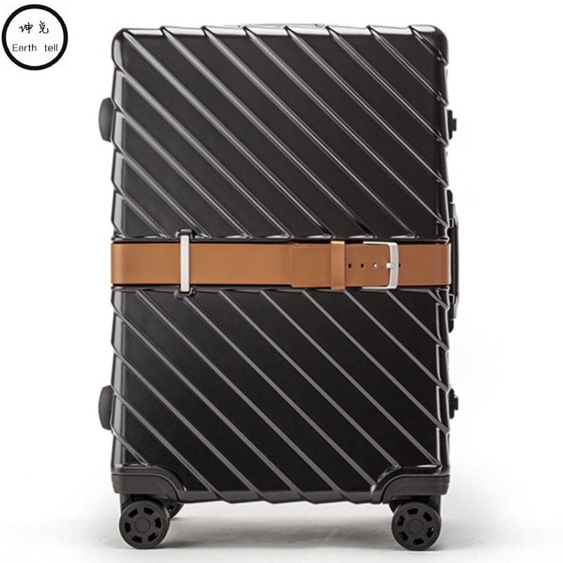 f1e217904a73 PC Business Rolling Luggage Bags Aluminum Frame Alloy Spinner Wheels  Airplane Suitcase Bag Carry Travel Trolley 20