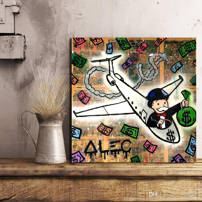 Alec Monopoly Airplane Canvas Painting Wall Picture Poster And Print Decorative For Living Room Home Decor