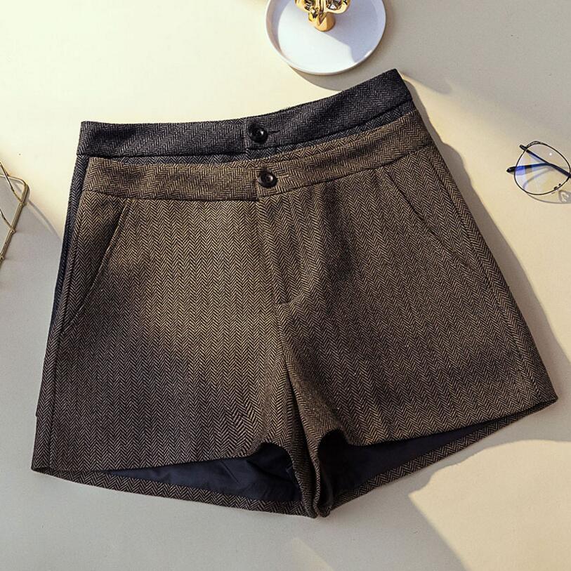 12f078adf8 Compre Pantalones Cortos De Lana Para Mujer De Gran Tamaño