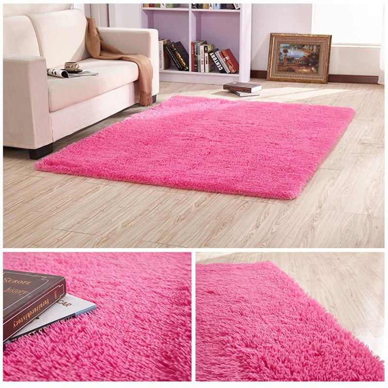 European modern rectangular long hair carpet anti-slip silk floor mat living room coffee table rug bedroom bed thick blanket